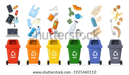 Garbage sorting set. Bins with recycling symbols for e-waste, plastic, metal, glass, paper, organic trash. Vector illustration for zero waste, environment protection concept Stock foto ©
