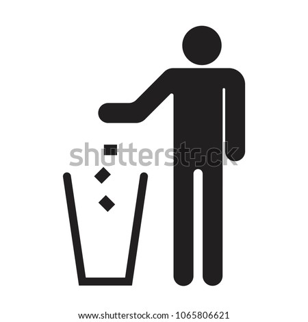 Garbage symbol. Do not litter sign. Trash icon. Logo on white background. Flat vector illustration