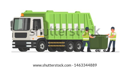 Garbage truck and dustmen. Scavengers workers clean the trash can. Vector illustration in flat style Сток-фото ©