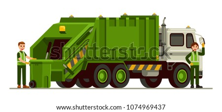 garbage truck and sanitation worker vector illustration