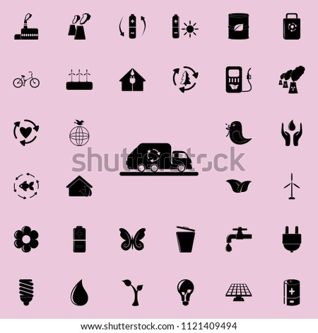 garbage truck icon. Detailed set of Ecology icons. Premium quality graphic design sign. One of the collection icons for websites, web design, mobile app on colored background