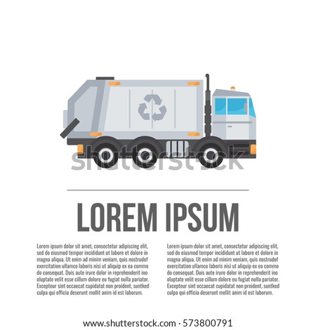 Garbage truck. Recycle truck icon. Vector.