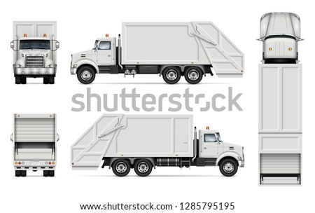 Garbage truck vector mockup for vehicle branding, advertising, corporate identity. Isolated template of realistic waste lorry on white background. All elements in the groups on separate layers