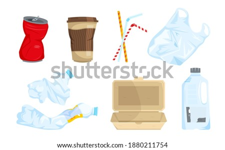 Garbage types set. Can, plastic waste, bottles, bag, sipping straws, disposable tableware. The most widespread litter. Objects collection. Editable vector illustration isolated on the white background Foto stock ©