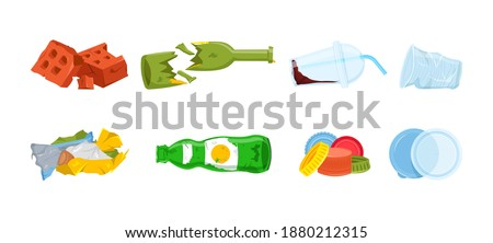Garbage types set. Plastic waste, brick rubble, broken glass bottles, crumpled wrapping, covers, disposable tableware. The most widespread litter. Vector illustration isolated on the white background Foto stock ©