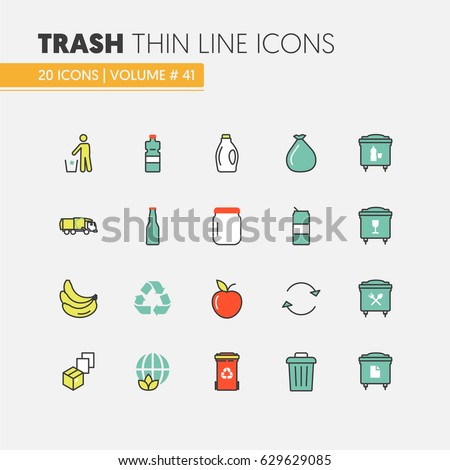 Garbage Waste Recycling Linear Thin Line Vector Icons Set with Trashcans