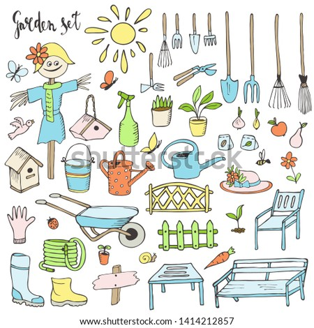 Garden, a set of elements, vector. Gardener's tools, cottage interior items, decor items and furniture