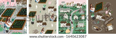 Garden, agriculture and farm. Vector illustration of gardening and spring sowing work on the garden bed, background with a pattern, landscape of nature and village. Drawing for poster, banner or card.