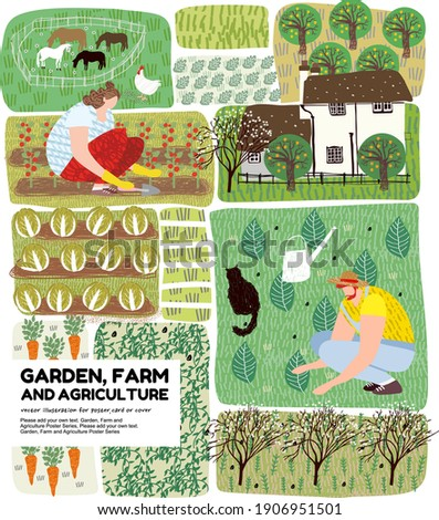 Garden, agriculture and farm.Vector illustration of work in nature in the field and vegetable garden. Drawing for poster, cover or background