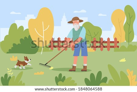 Garden autumn work vector illustration. Cartoon old gardener man character working with gardening tool rake to remove autumnal leaves in park or fall garden, raking agricultural seasonal background