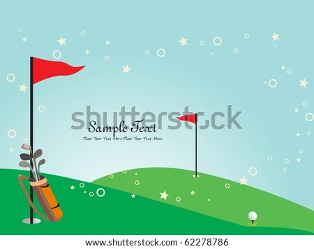 garden background with golf stick and flag