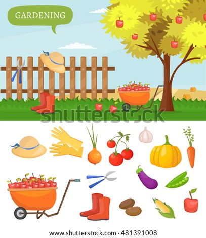 Royalty free geometric illustartion of the basket for Different tools and equipment in horticulture