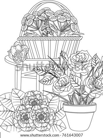 garden coloring book page