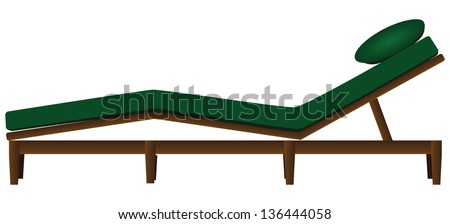 Garden deck chair with a mattress and a pillow. Vector illustration.