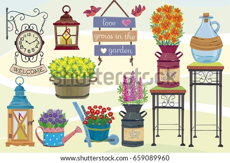 Garden decor.Garden decorative set. Separate layers of objects and background for easy editing.Illustration done in cartoon style