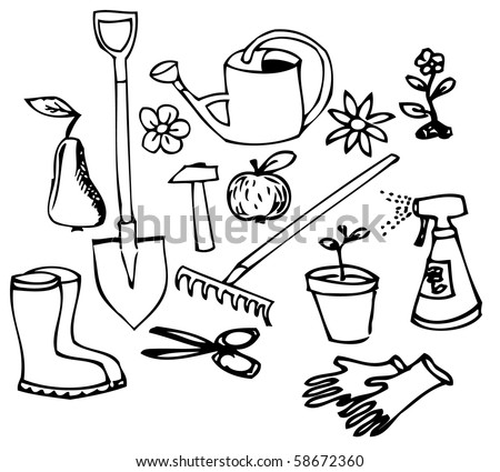 Garden doodle illustration collection - black on white