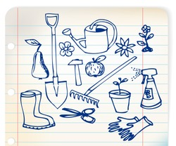 Garden doodle illustration collection - blue on linked paper