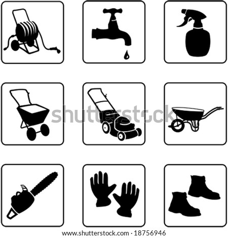 Garden equipment black and white silhouettes (also available in raster format)