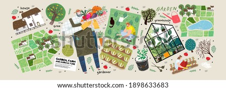 Garden, farm and agriculture. Vector illustration of gardener, garden beds, fields, maps, houses, nature, greenhouse and harvest. Drawings and objects for poster, background or postcard