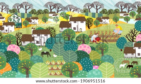 Garden, farm, nature and countryside. Vector illustration of a landscape with houses, trees, agriculture, livestock and grass. Drawing for banner, postcard or background