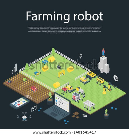 Garden farming robot concept banner. Isometric illustration of garden farming robot vector concept banner for web design