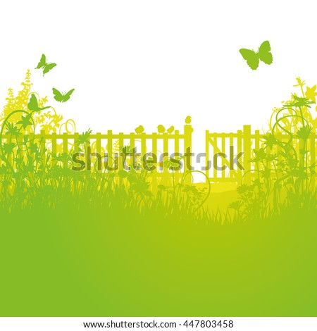 Garden fence and open gates