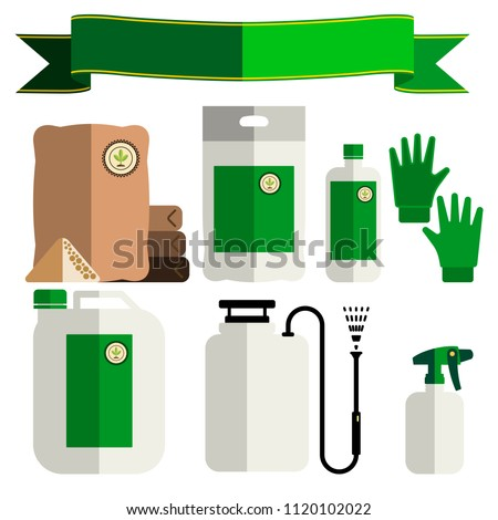 Garden fertilizers, insecticides. Gardening vector icons set, flat style. ストックフォト ©