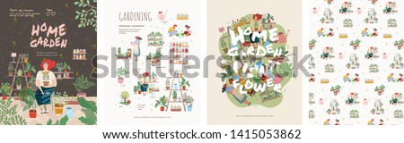 Garden, flowers and plants at home and outdoor.Vector drawn illustrations of plants in pots, people in garden beds, patterns and background for posters or cards
