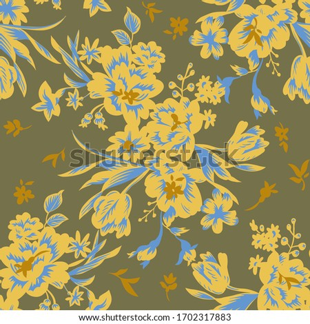 Garden flowers in bloom. Tulip heads silhouettes and trendy flat design. Bright floral seamless pattern. Vintage botanical illustration. Textile and fabric usage, fashion design. Сток-фото ©