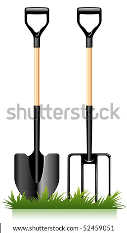 garden fork and spade, tools for the gardener