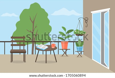 Garden furniture and flower pots on the balcony. Balcony decorated with plants. Cute vector illustration in a flat style.