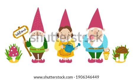 garden gnomes set a collection