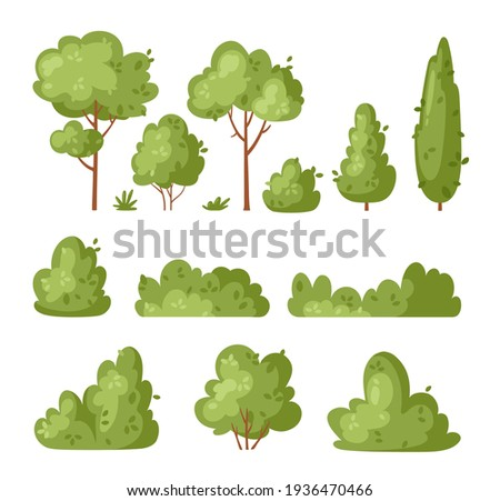 Garden green bush. Vector set of vegetation bushes, grass and trees. Cartoon icon for decorate landscape park, backyard, forest. Spring or summer plant, trees, hedges, shrub with branches and leaves Stock photo ©