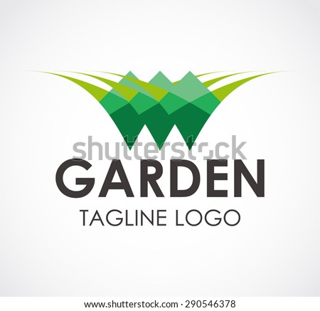 Garden green grass log nature element symbol shape icon design vector template business bio eco abstract company