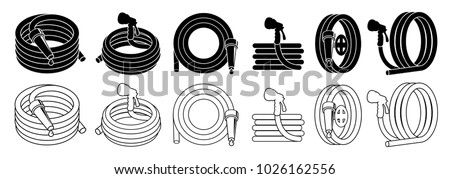 Garden hose or fire hose set, isolated on white vector icon.