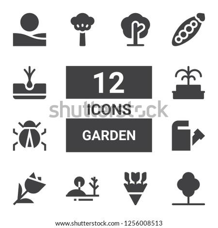 garden icon set collection of