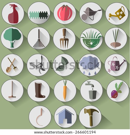 Garden Items In White Circles Flat Shadow Web Icons Stock