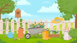 Garden landscape with tools. Cartoon spring poster with yard and fence, wheelbarrow, flowers, seedling and pots. Gardening vector concept. Birdhouse, gumboots and watering can on grass