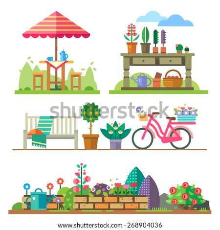 garden landscapes  summer and