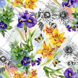 Garden Lily, Iris, African Violet, Saintpaulia flowers watercolor seamless pattern with butterflies on white background vector illustration