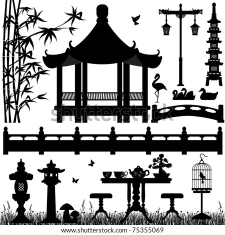Garden Park Outdoor Recreational Asian Chinese Japanese - stock vector