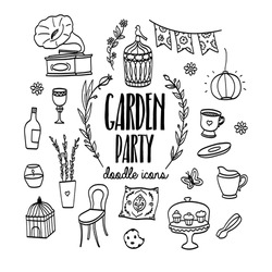 Garden party hand drawn doodle icons. Vintage design elements.