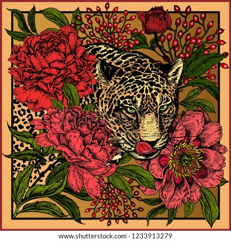 Garden peonies and wild leopard. Floral and Beast style. Template for design scarf or pillow. Print with animals and flowers. Wildlife motifs. Vector illustration. Gold, black, red and green.