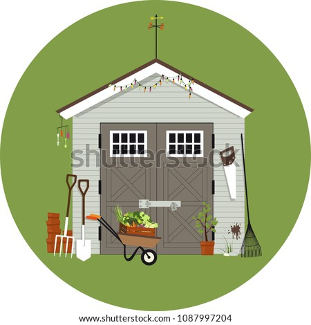 Garden shed with gardening tools around it, EPS 8 vector illustration, no transparencies  商業照片 ©