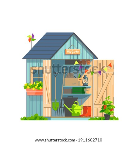 Garden shed with household tools isolated on white background. Watering-can, shovel, pitchfork, pots and plants for gardening and landscaping. Vector illustration