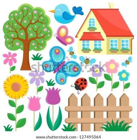 Garden theme collection 1 - vector illustration.