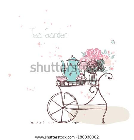 garden theme  vintage tea cart