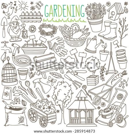 garden themed doodle set