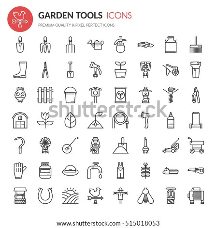 Garden Tool Icons, Thin Line and Pixel Perfect Icons