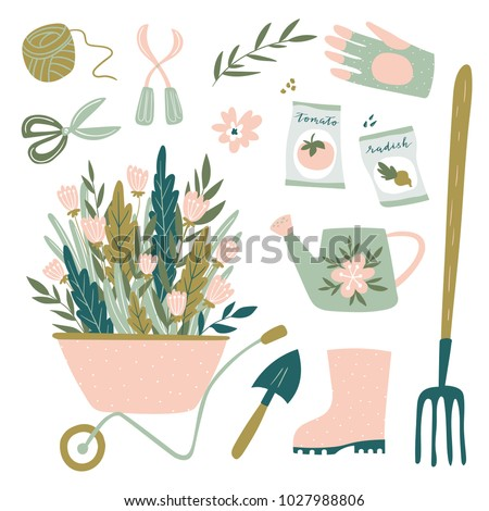 Garden tool set. Vector illustration of gardening elements:  spade, pitchfork, wheelbarrow, plants, watering can, grass,  garden gloves, cart and potted flowers. Happy gardening design.